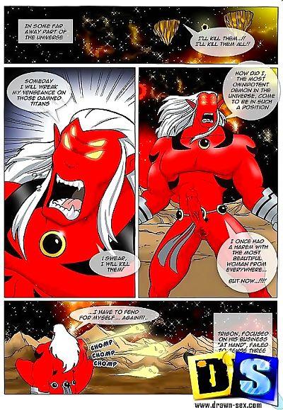 Teen titans fighting the horny alien intruders - part 2593