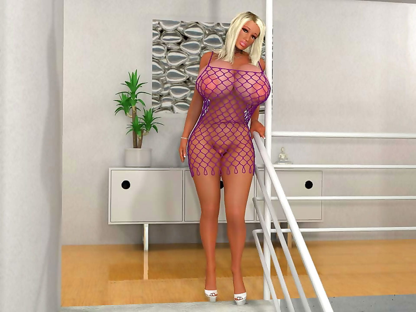 Huge breasted 3d blonde babe poses in fishnet dress - part 372