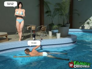 Poolside fuck with mother