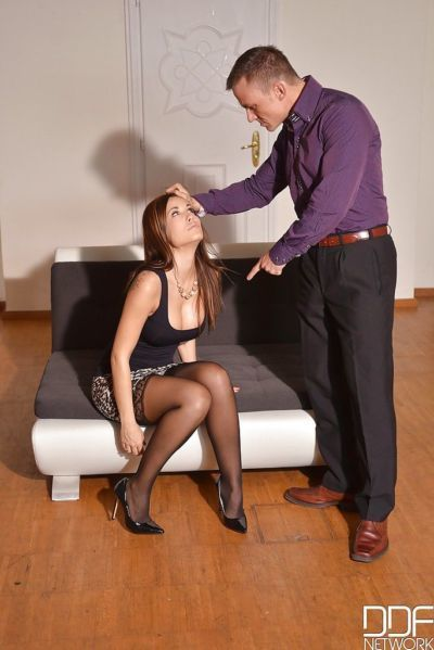 Submissive Euro slut Satin Bloom submits to master\