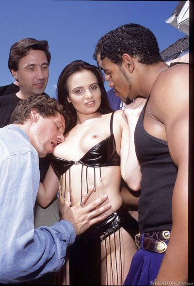 Dark-haired Vanessa Virgin fucks with amazing big black dicks