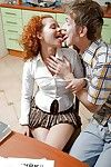 Curly redhead- Melissa H- tries anal in class along horny colleague